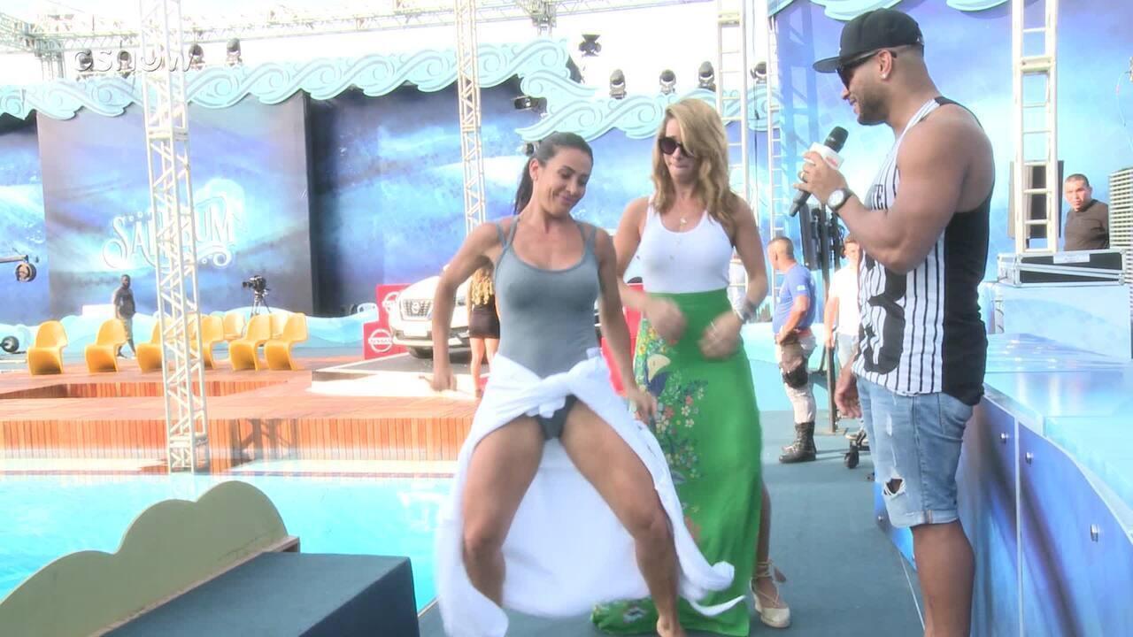 Sheila Carvalho dança hit do marido e ensina coreografia para Dany Bananinha