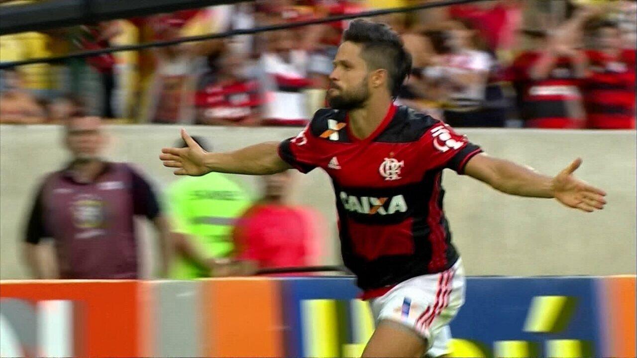 Gol do Flamengo! Pará cruza, e Diego marca um belo gol, aos 39' do 2º tempo