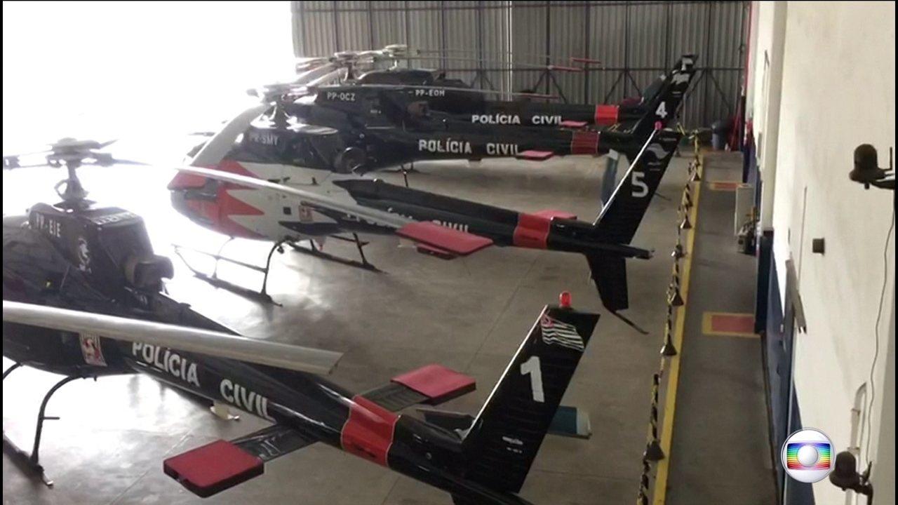 Quatro helicópteros da Polícia Civil do Governo do Estado não tem licença pra voar