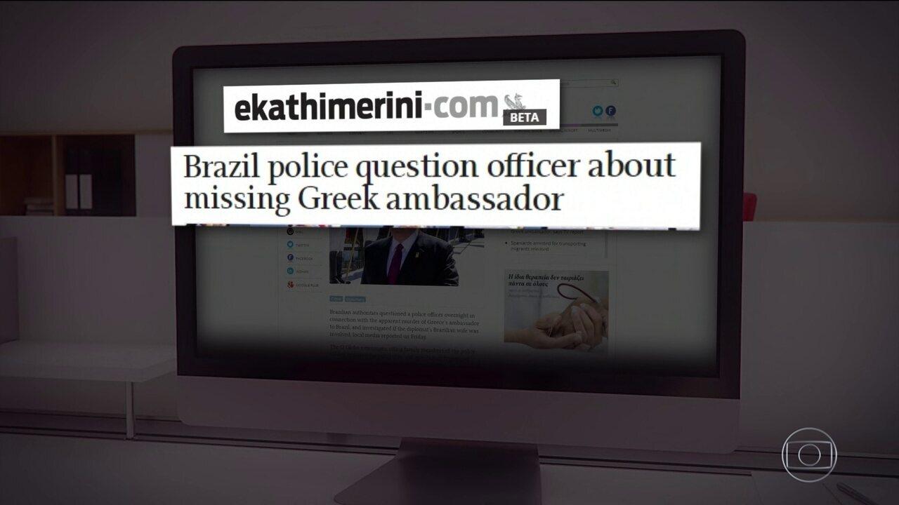 Principais jornais da Grécia noticiam morte de embaixador