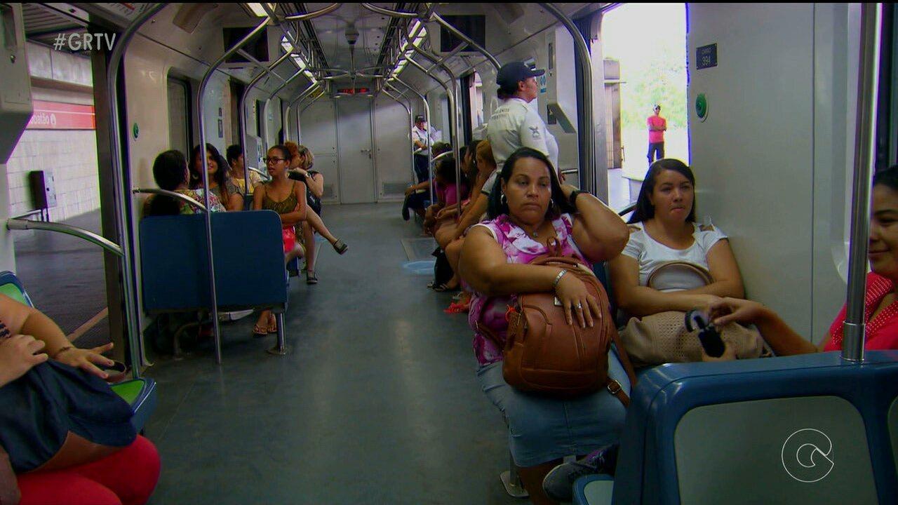 Vagão exclusivo para mulheres no metrô do Recife entra em fase de testes