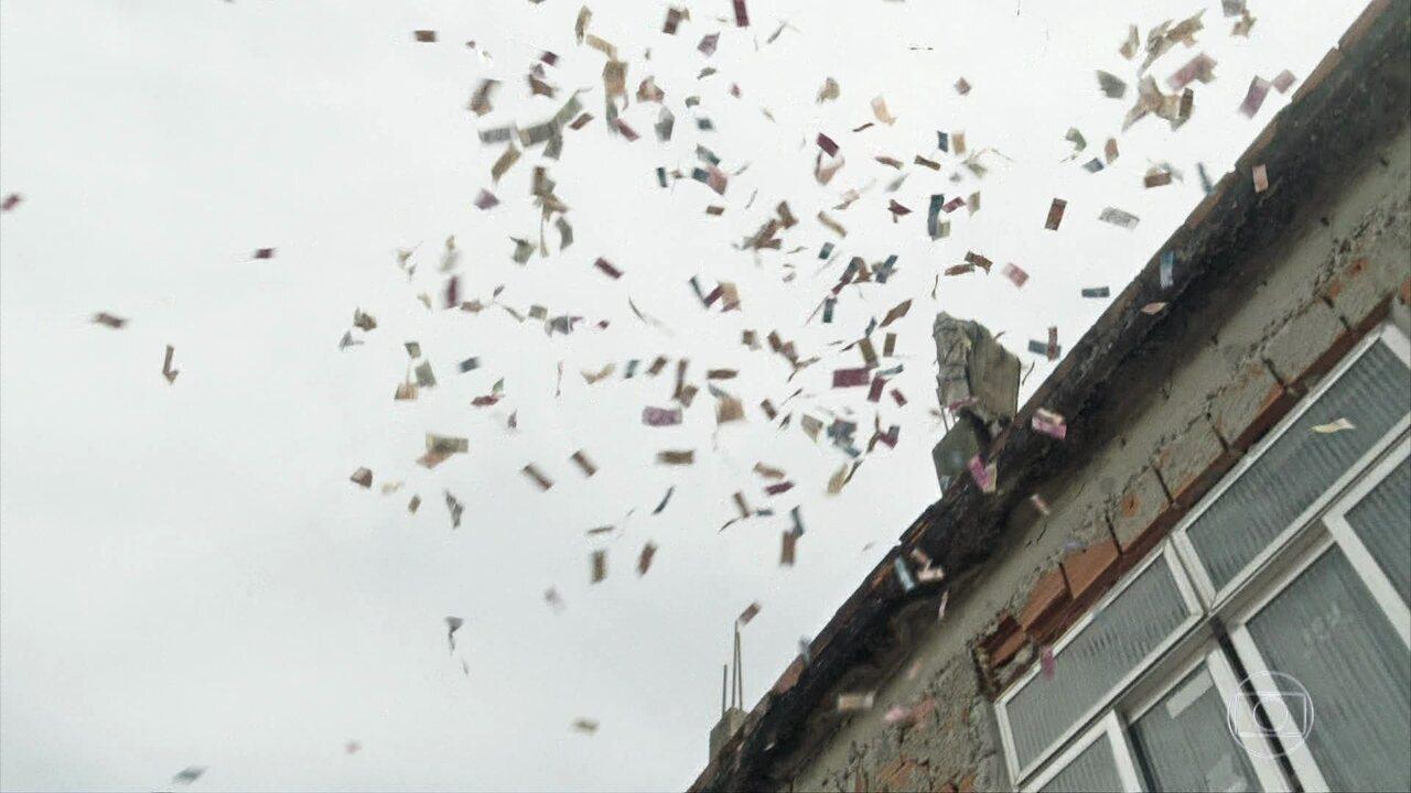 Pitbull leva tiro e cai do telhado