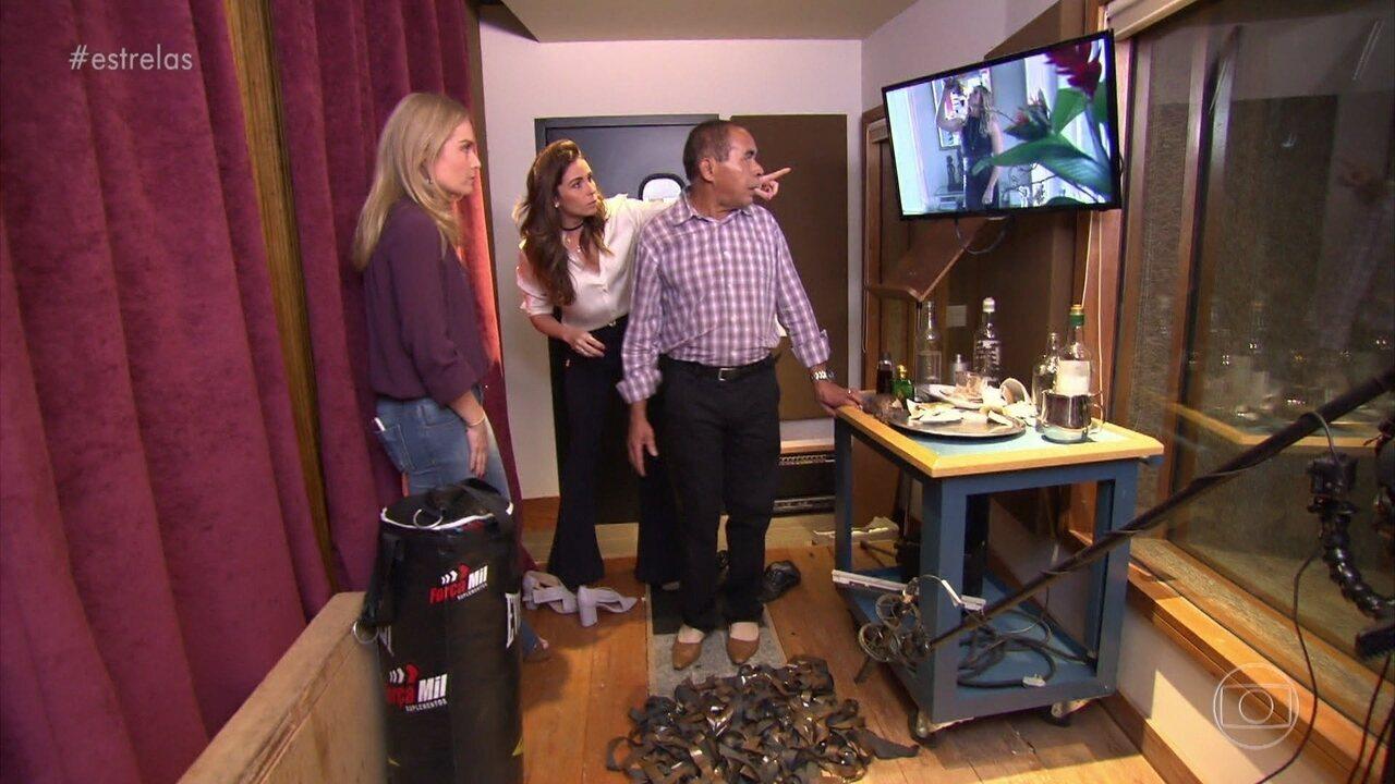 Giovanna Antonelli e Angélica aprendem como é feita a sonoplastia na TV Globo