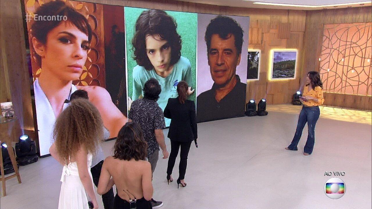 Maria Ribeiro e Lúcio Mauro Filho mostram fotos de seus filhos