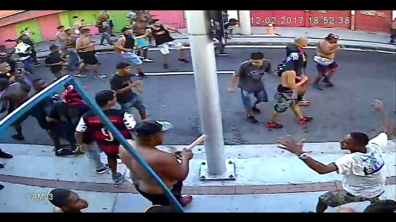 Fantástico mostra imagens inéditas da briga entre torcedores de Flamengo e Botafogo