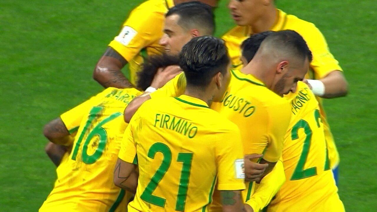 Os gols de Brasil 3 x 0 Paraguai pela 14ª rodada das Eliminatórias da Copa
