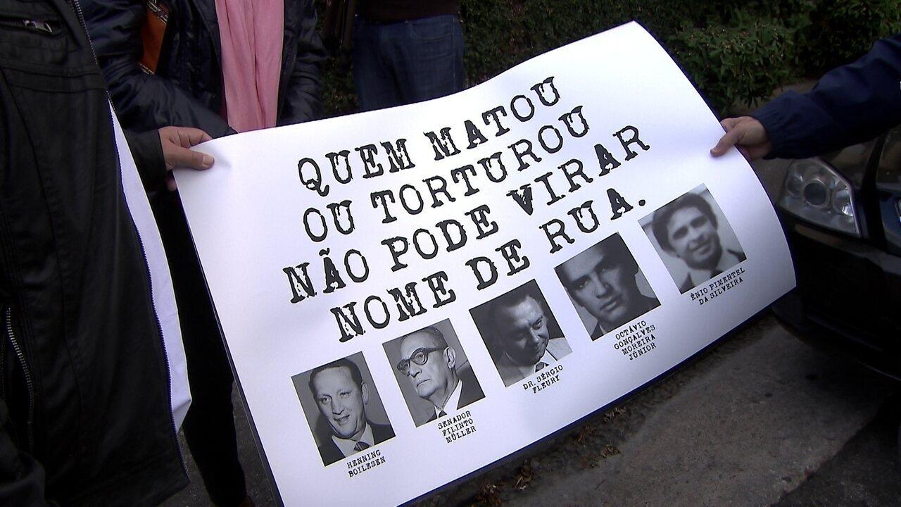 Ativistas mudam nomes de vias que homenageiam pessoas ligadas à ditadura