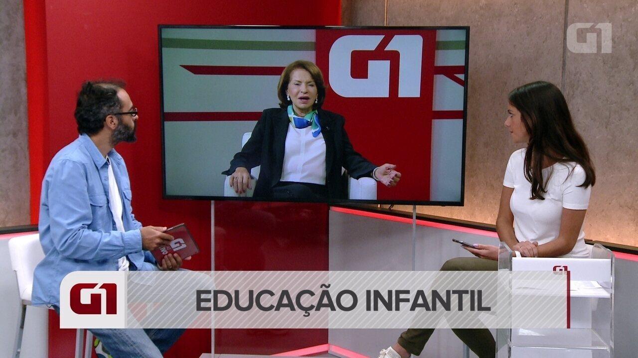 Maria Helena Guimarães de Casto, secretária executiva do MEC, defende a alfabetização até o segundo ano do ensino fundamental (a partir do minuto 1'43'')