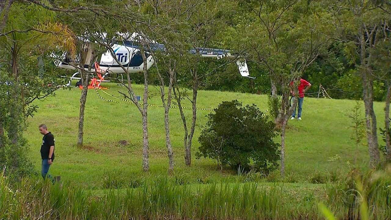 Polícia busca suspeitos após helicóptero fretado ser roubado e abandonado no RS