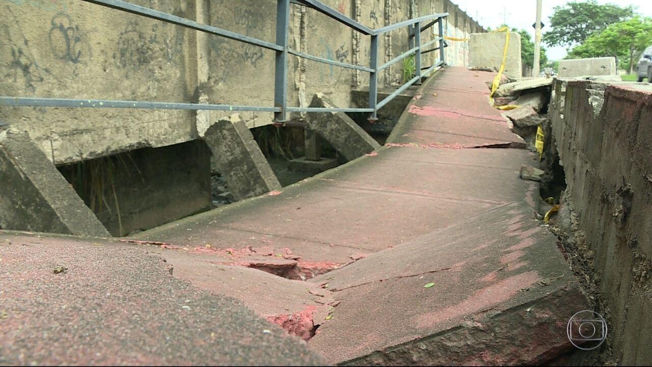 Trecho de ciclovia em Campo Grande corre risco de desabar