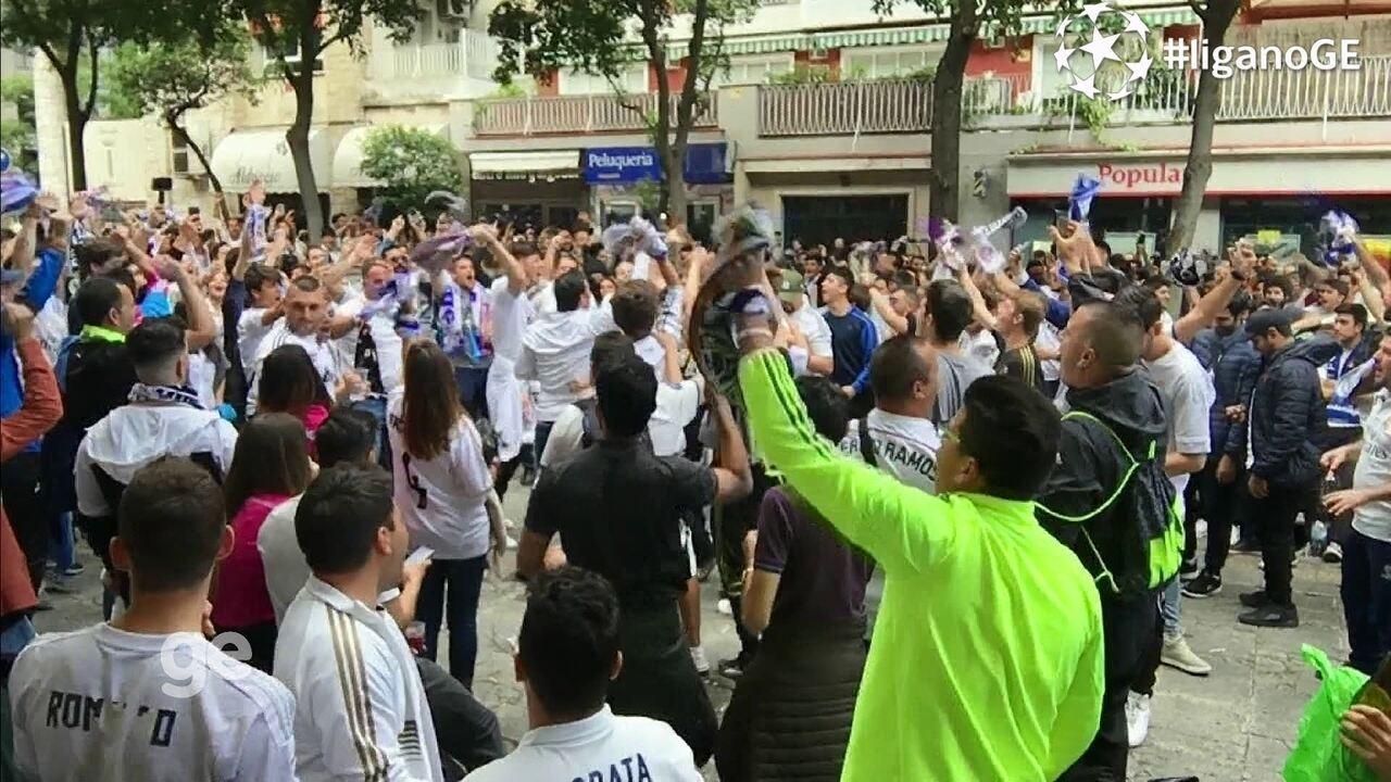 Veja o clima dos torcedores do Real Madrid antes do jogo contra o Atlético de Madrid
