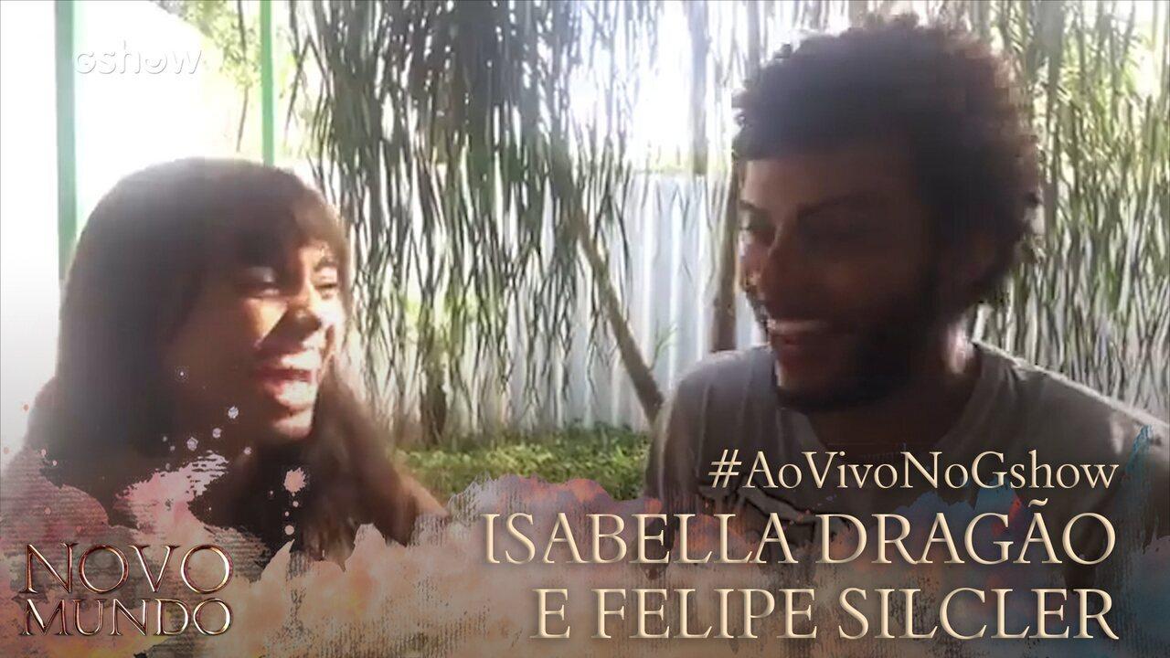 Isabella Dragão e Felipe Silcler participam de transmissão na página do Gshow