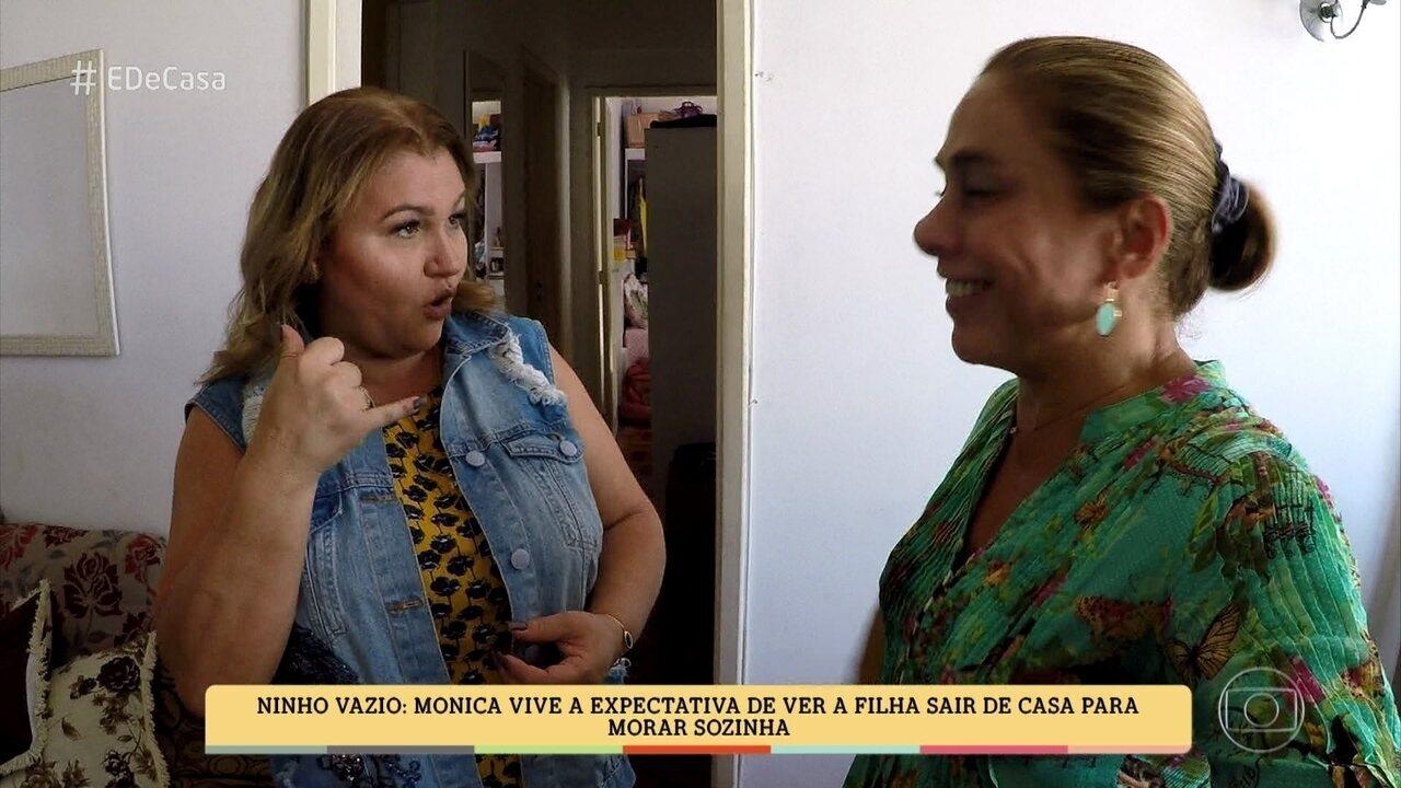 Cissa Guimarães conhece Mônica, que vive a expectativa de ver a filha sair de casa