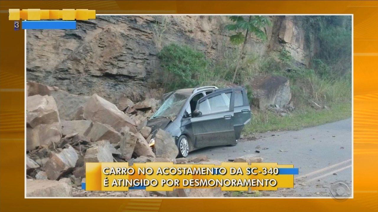 Carro é atingido por pedras na SC-340 em Dona Emma