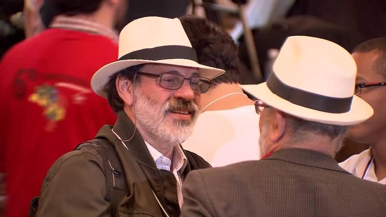 Condenado na Lava Jato, ex-tesoureiro do PT adotou perfil discreto em congresso do partido. As imagens são do repórter cinematográfico Élder Miranda, da TV Globo