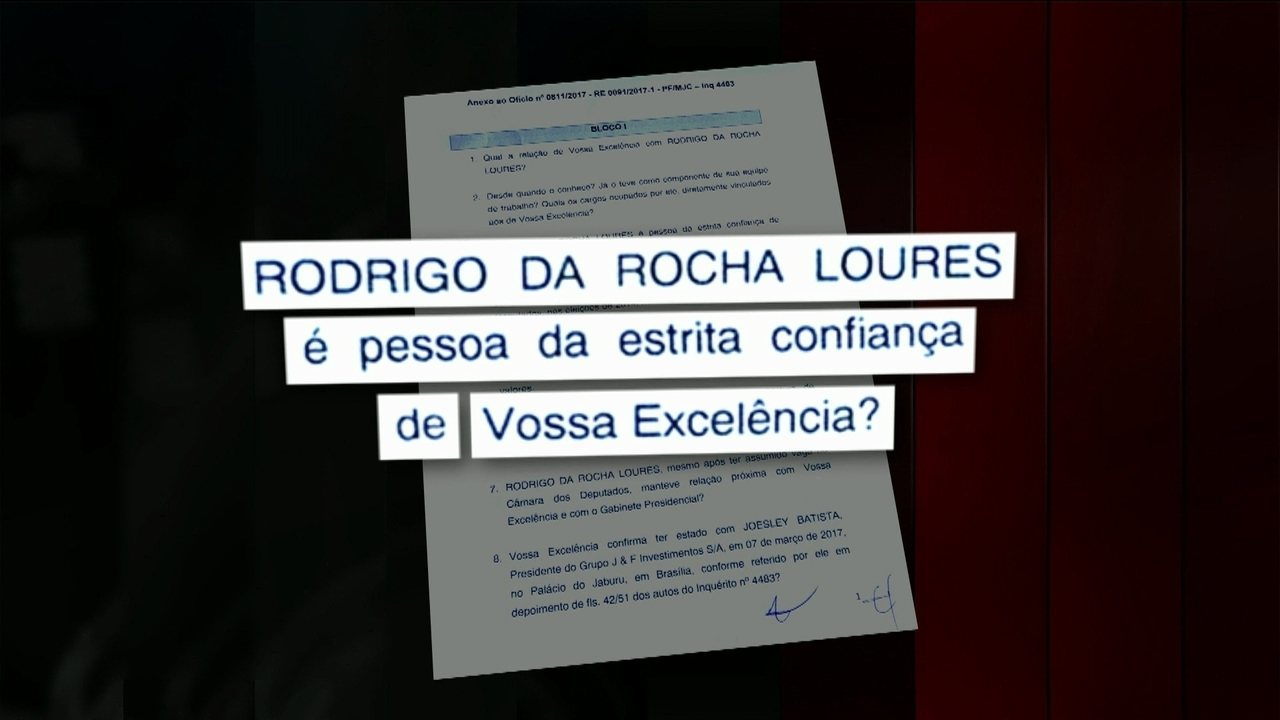 Veja algumas as perguntas que a Polícia Federal enviou ao presidente Michel Temer