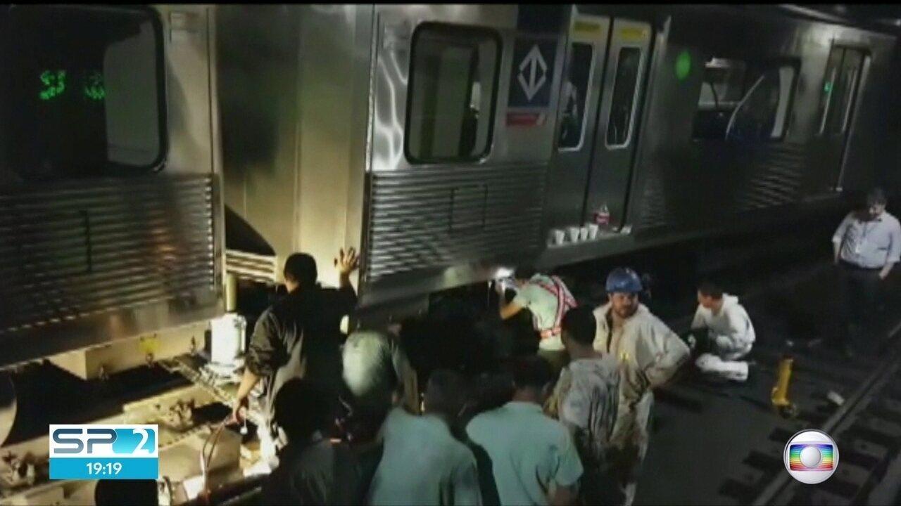 Cerca de 9 horas após descarrilamento, estações da Linha 1-Azul do ... 73b652c655
