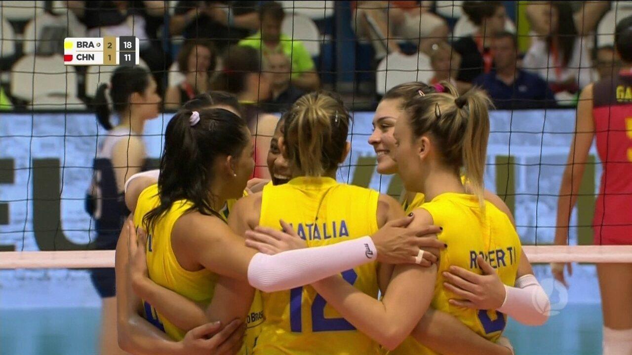 Melhores momentos de Brasil 3 x 1 China pelo torneio de Montreux de vôlei  feminino fc028034a4128