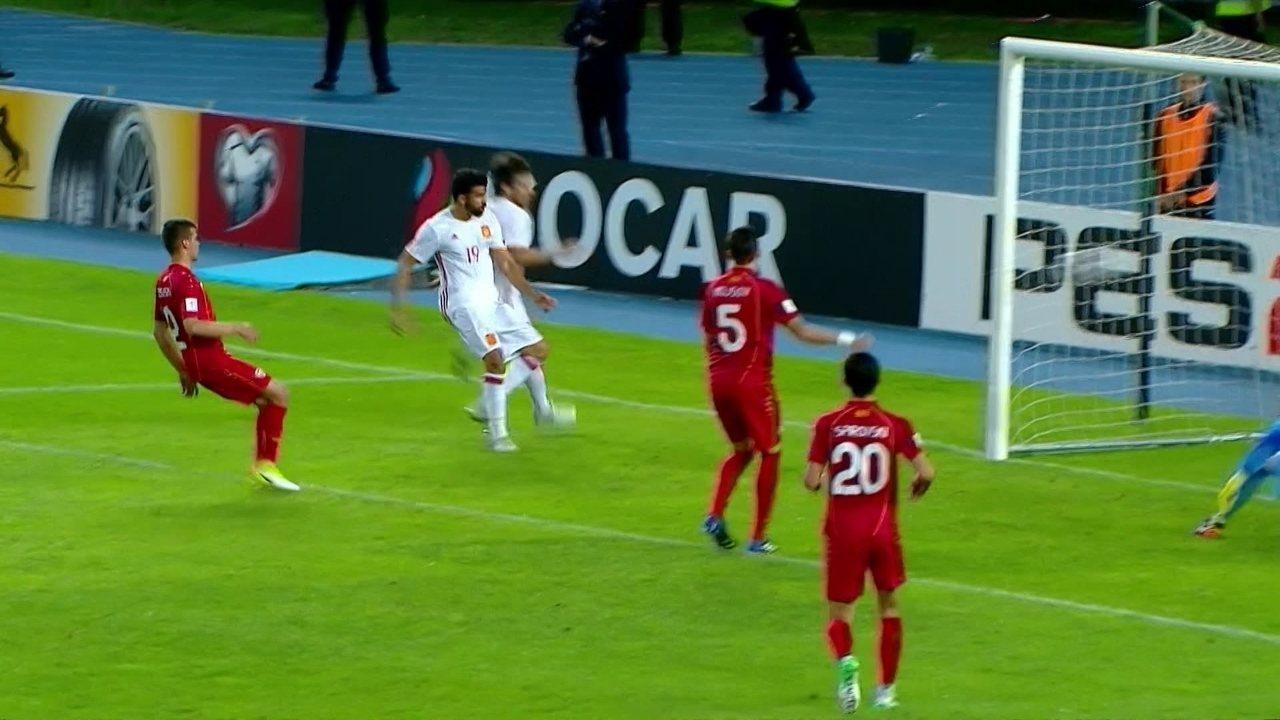 Os gols de Macedônia 1 x 2 Espanha pelas Eliminatórias da Copa