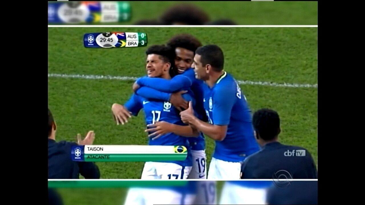 Reveja o gol de Taison na goleada por 4 a 0 sobre a Austrália