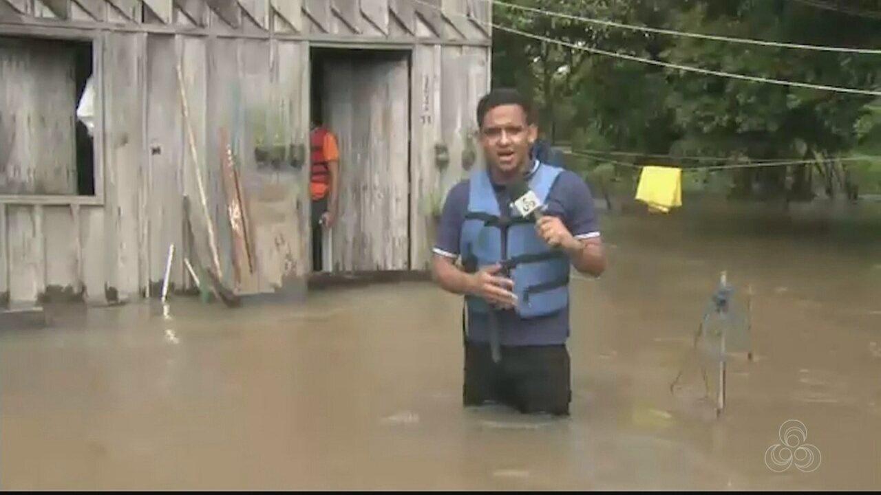 Comunidades de Caracaraí, RR, ficam debaixo d'água com cheia do Rio Branco