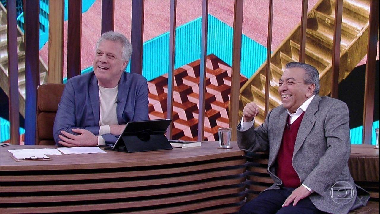 Pedro Bial conversa com os filhos de Mauricio de Sousa