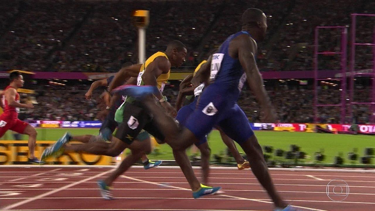 Gatlin bate Usain Bolt e o jamaicano fica com o bronze em sua última prova individual