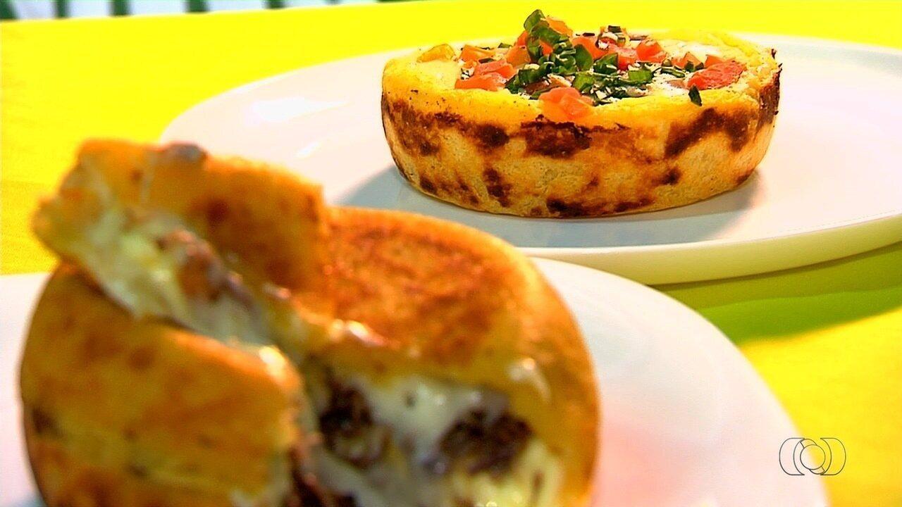 Restaurante faz sucesso servindo 'cesta de mandioca' recheada com carne seca, em Goiânia