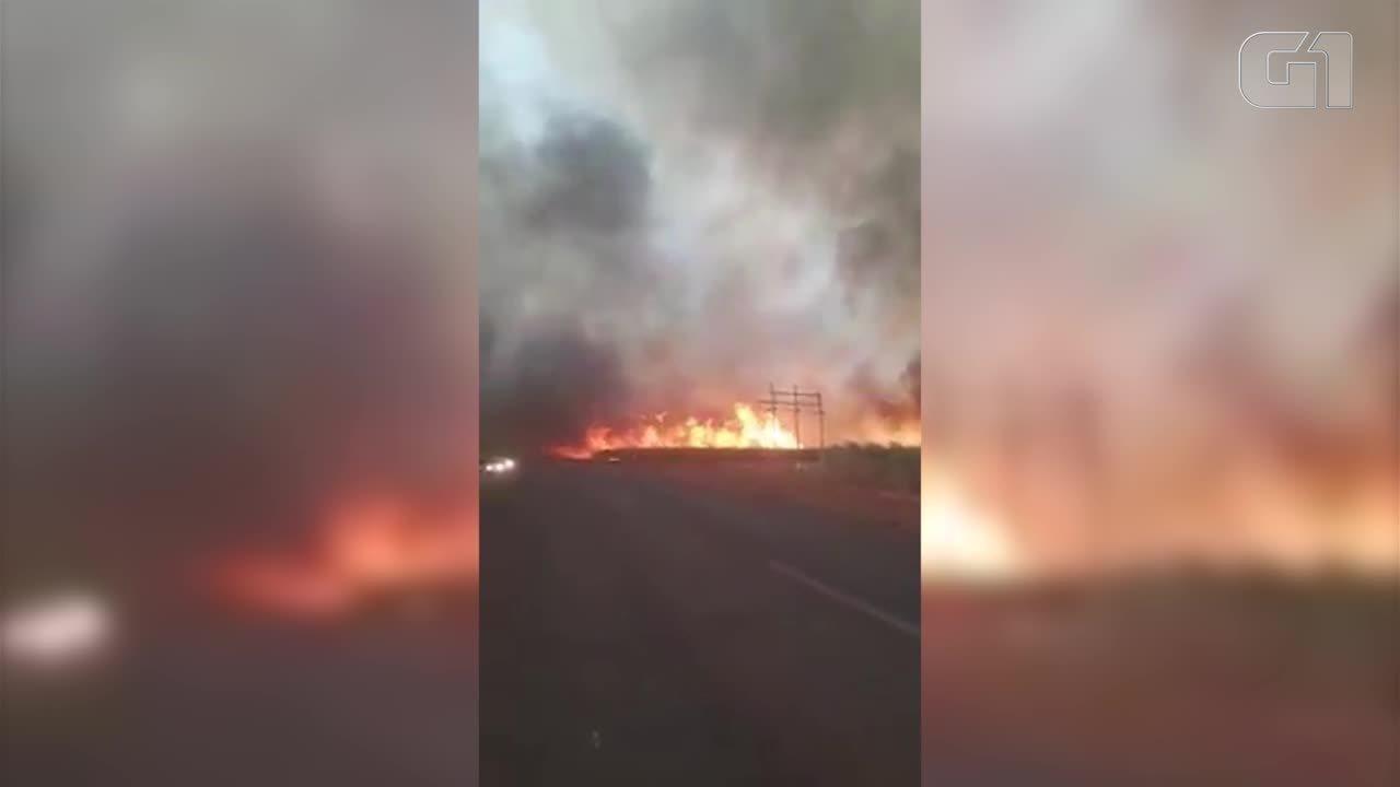Incêndio em canaviais entre Uberaba e Conceição das Alagoas