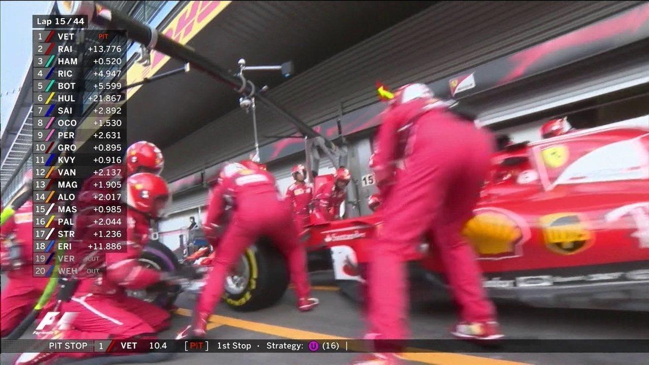 Vettel faz uma boa parada, mas um pouco mais lenta que Hamilton