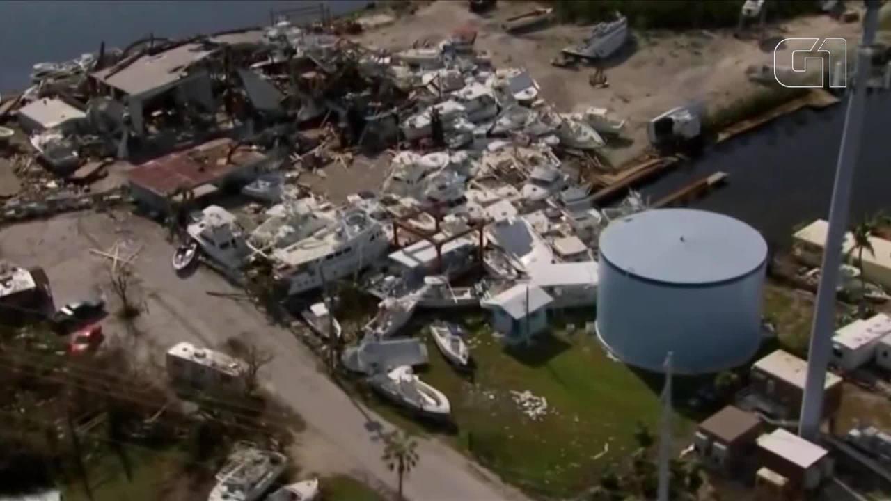 Imagens aéreas mostram destruição nas ilhas de Florida Keys nos EUA