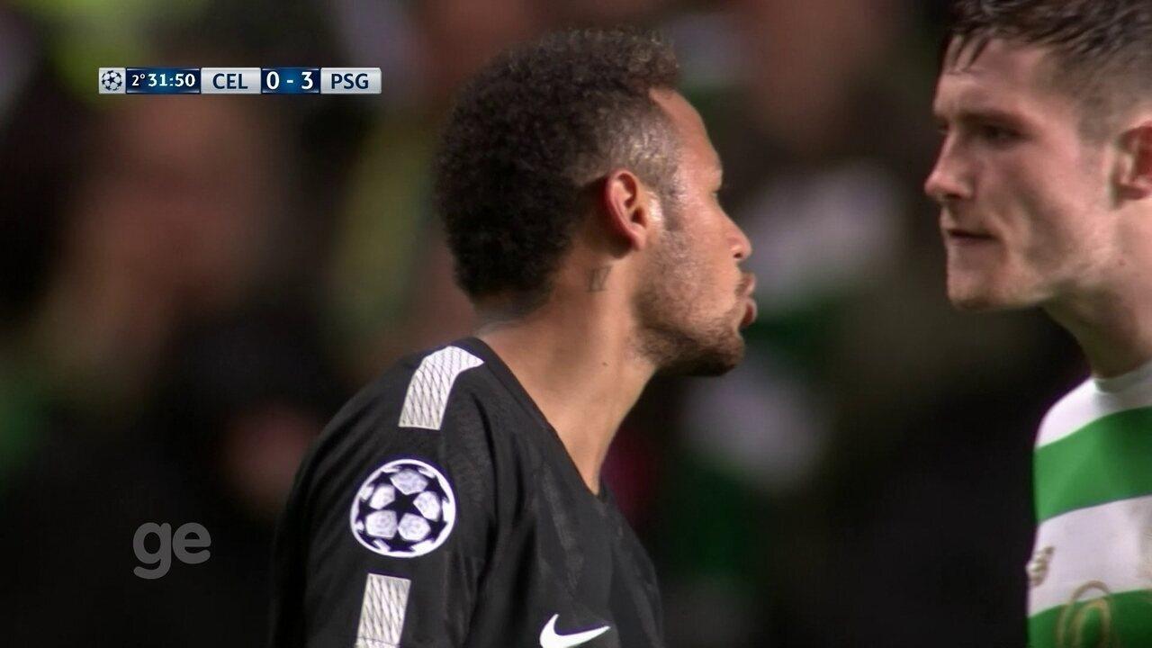 Neymar provoca jogador do Celtic, aos 31 do 2º tempo