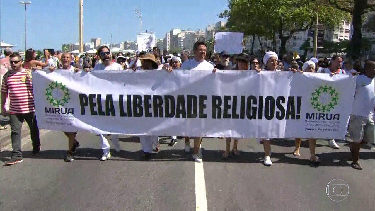 Protesto contra a intolerância religiosa reúne milhares de pessoas no Rio