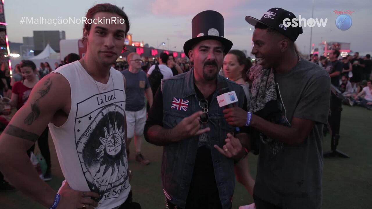 Lucas Koka e Pablo Morais entrevistam fãs do Guns N' Roses