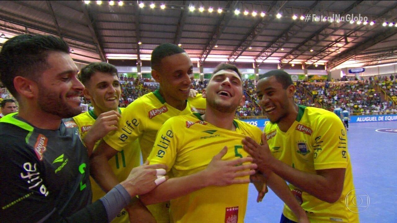 Veja os gols de Brasil 7 x 1 Uruguai pelo Desafio Internacional de Futsal