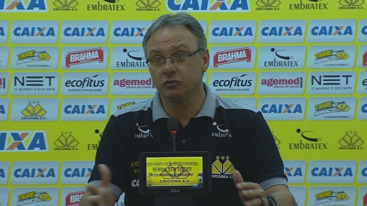 Coletiva de Beto Campo após empate em 1 a 1 entre Criciúma e Figueirense
