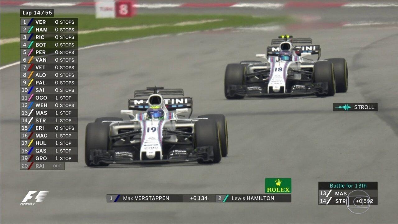 Massa e Stroll brigam por posição e brasileiro leva a melhor