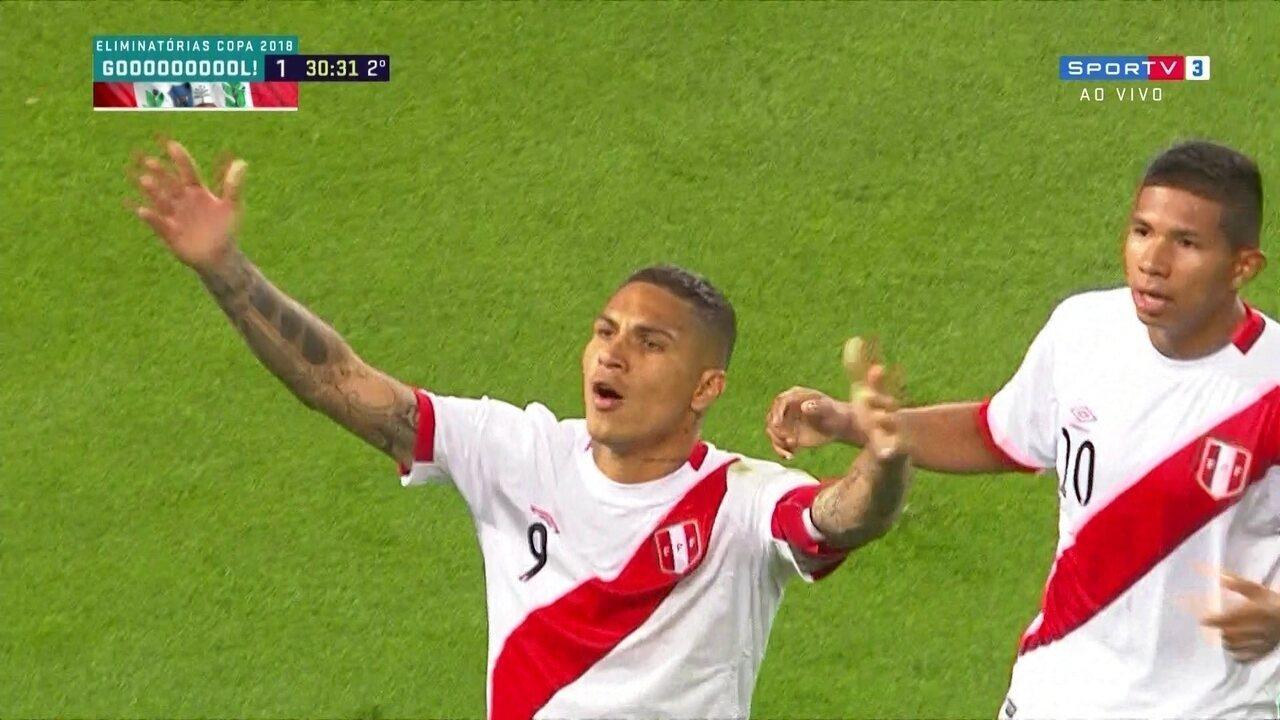 06e4fb4909 Gol do Peru! Guerrero cobra falta e empata