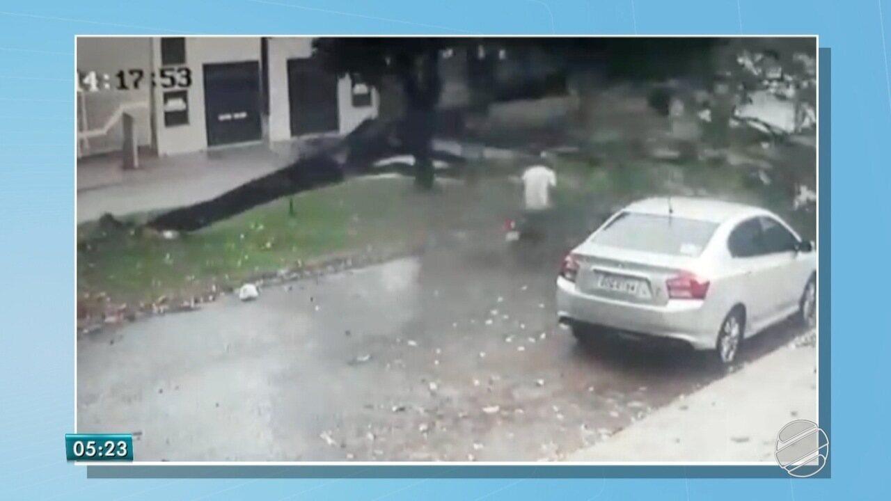 Motociclista sai ileso após árvore de canteiro central cair durante tempestade em Dourados