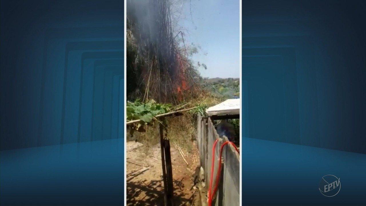 Fogos de artifício causam focos de incêndio em São Tiago (MG)