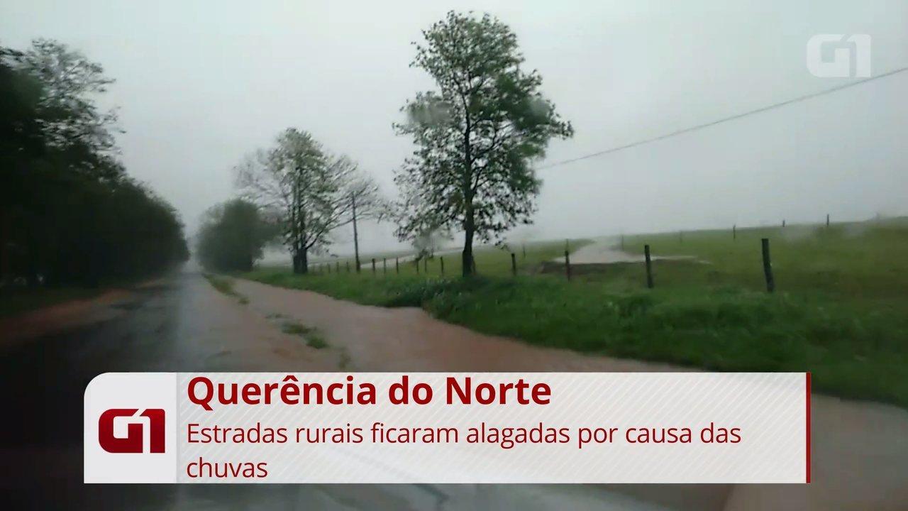 Estradas rurais de Querência do Norte ficam alagadas por causa das chuvas