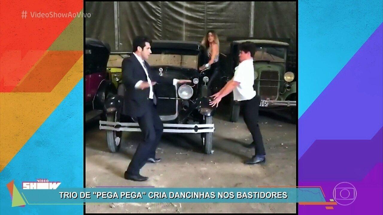 Trio de 'Pega Pega' faz sucesso com dancinhas nos bastidores
