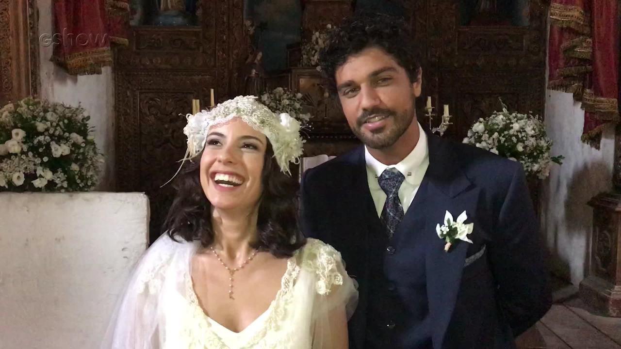 Andreia Horta e Bruno Cabrerizo comentam o casamento de Lucinda e Inácio