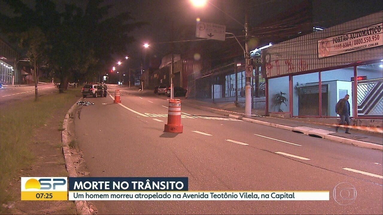 Uma pessoa morreu atropelada na Avenida Teotônio Vilela, na Zona Sul de SP