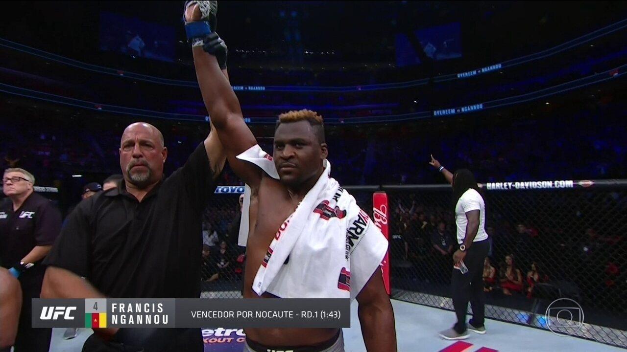 Francis Ngannou nocauteia Alistair Overeem pelos pesos-pesados do UFC 218