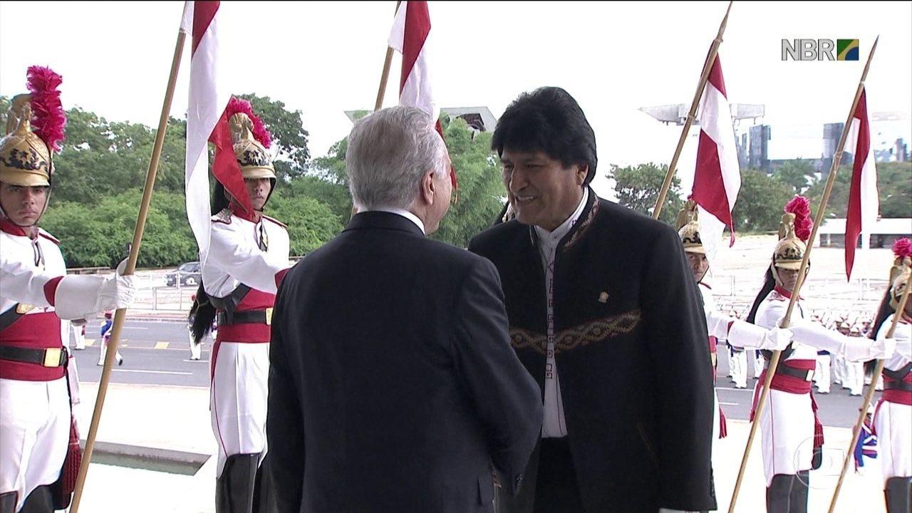 Presidente da Bolívia Evo Morales se encontra com Michel Temer