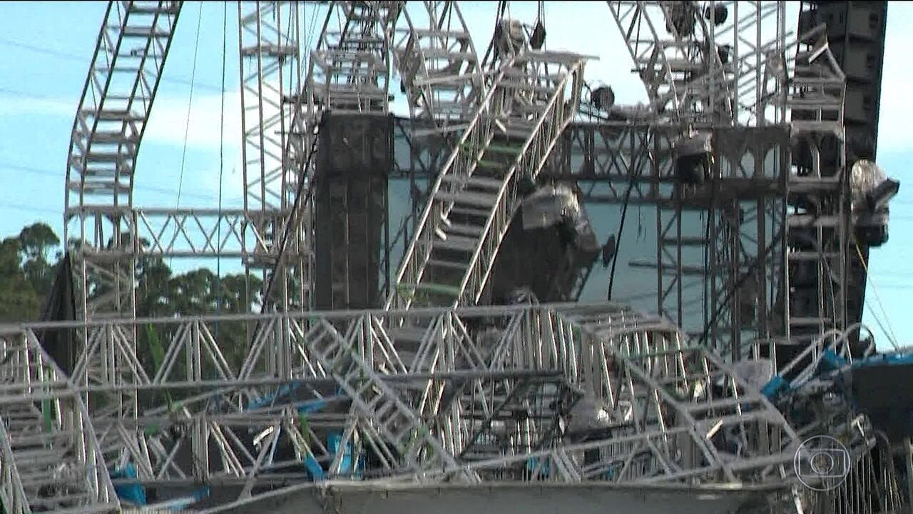 Resultado de imagem para momento da queda de estrutura que matou DJ em festa
