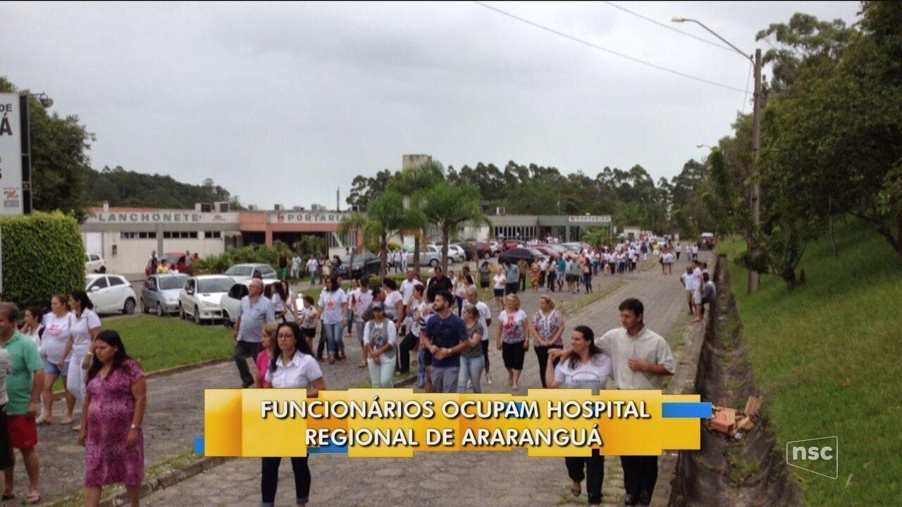 Funcionários ocupam Hospital Regional de Araranguá