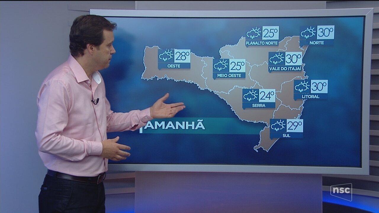 Veja como ficará o tempo em todas as regiões de SC nesta sexta-feira (12)