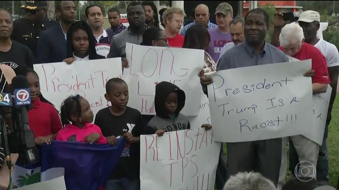 Comunidade haitiana nos EUA protesta contra Donald Trump
